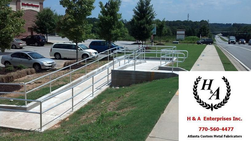 Wood Ramp Steel Hand Rails Atlanta GA - H & A Enterprises Inc Columbia SC Atlanta Hand Rails ADA Steel Polished Stainless Aluminum Handicap Ramp
